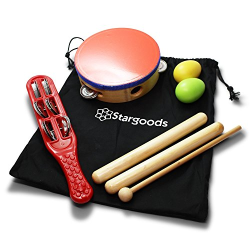 Stargoods Percussion Instruments Set (Drum, Jingle, Clave...
