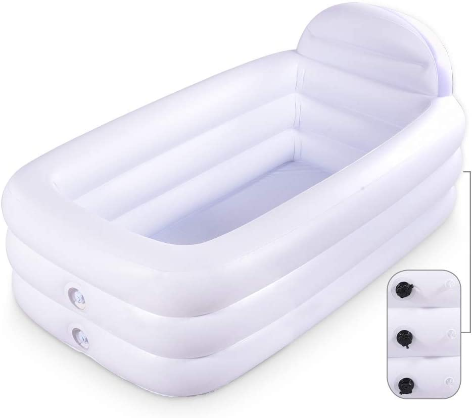 HIWENA Inflatable Portable Bathtub, White Durable Soaking Bath Tub with Large Backrest, Freestanding Inflatable Pool Bathroom Home Spa
