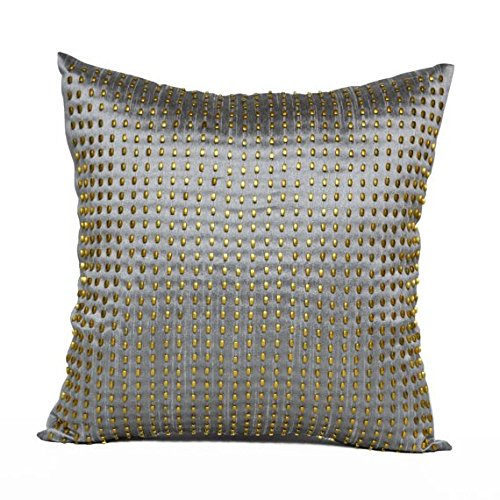 Amore Beaute Handcrafted Decorative Throw Pillow Cover On Grey Dupioni Art Silk With Gold Bead Sequin Work Sequin Cushion Cover Anniversary Gift Wedding Gift Valentines day ()