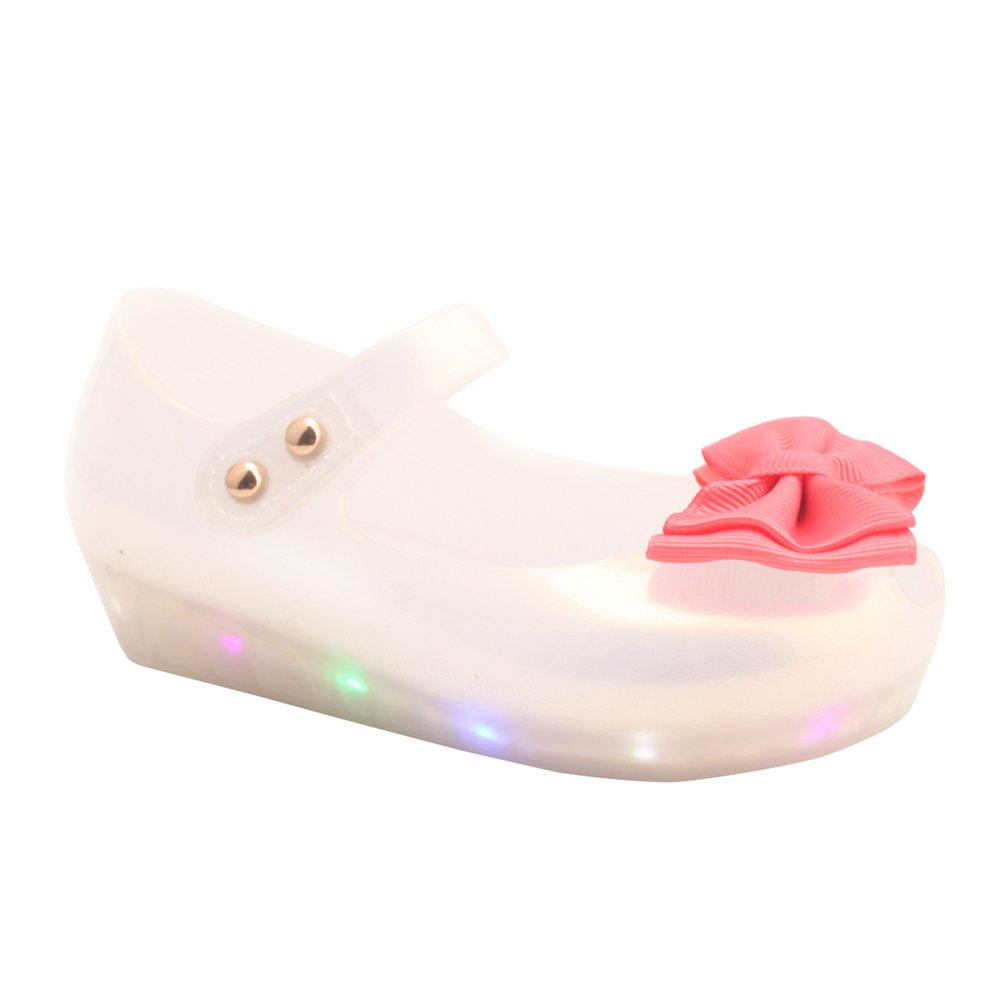 Omgard Kids Summer Cute Ribbon Bow Princess Sandals Jelly Shoes Kid Girl Gift Toddler Color White Size 6.5
