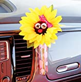 Bling My Bug VW Beetle Sunflower Pink Bow with Universal Vase