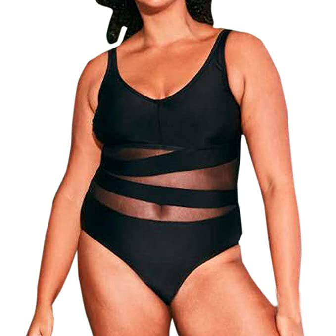 e3551ff4e5 general3 Women Plus Size One Piece Swimsuit Push Up Mesh Bikini Beach  Bathing Monokini Swimsuit Swimwear