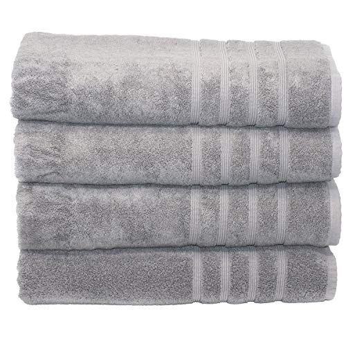 Mosobam 700 GSM Hotel Luxury Bamboo-Cotton, Bath Towel Sheets 35X70, Grey, Set of 4, Quick Dry, Soft Spa-Like Turkish Bathroom Sets, Oversized Extra Large Body Sheet Gray Towels, Prime Bulk