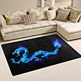 WOZO Abstract Blue Dragon Area Rug Rugs Non-Slip Floor Mat Doormats for Living Room Bedroom 60 x 39 inches Review