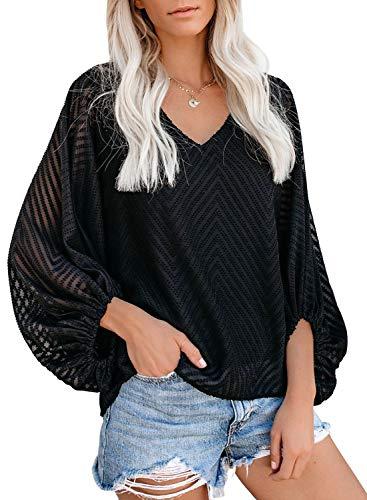 AlvaQ Women's Summer Fall Casual Cute Loose Shirt Balloon Sleeve V-Neck Blouse Top Fashion 2019 Black Small