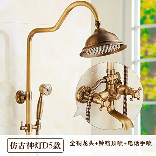 R GFEI Round, hot and cold copper, antique shower, faucet   shower, shower faucet   shower faucet, wall hanging,Q