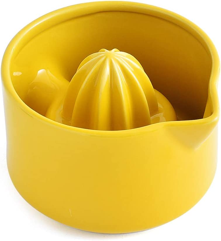 KVV Manual Citrus Press Juicer Ceramics Lemon Orange Hand Lime Squeezer , Bowl Handle Pour Spout for Home Bar Kitchen ,4.7 Inch (YELLOW)