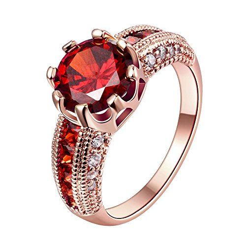 Swarovski Clear Crystal Ruby Personalized Fashion Rings for Women -Rose - Roses Ruby