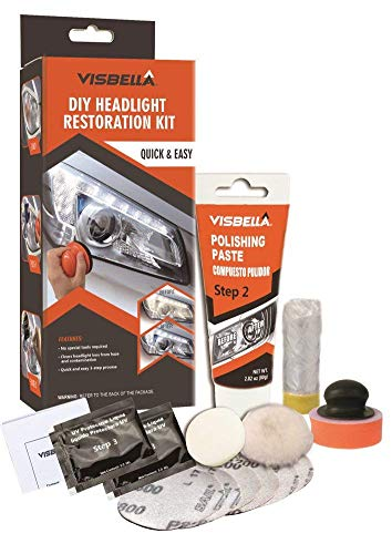 (Visbella DIY Vehicle Headlight Restoration Kit, Headlight Restore Cleaner with UV Protection (Manual/Handheld))