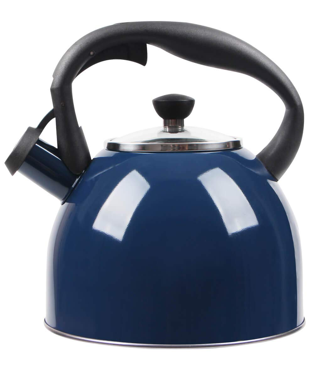 Rorence Stainless Steel 2.5 Quart Capsule Bottom Whistling Stovetop Tea Kettle with Heat-resistant Glass Lid - Navy Blue