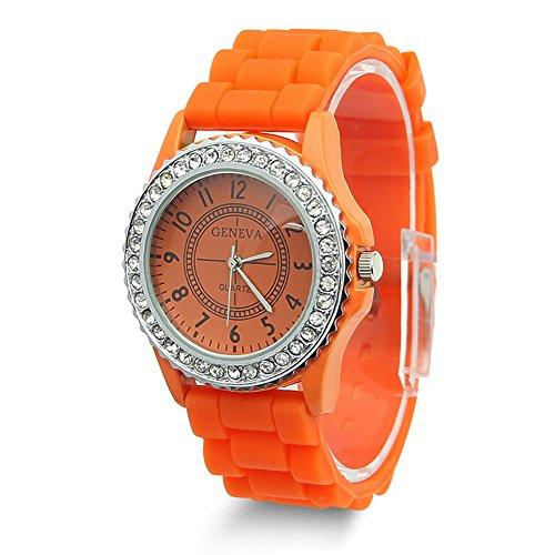 (Estone Geneva Fashion Crystal Jelly Gel Silicon Girl Women's Quartz Wrist Watch (Orange))