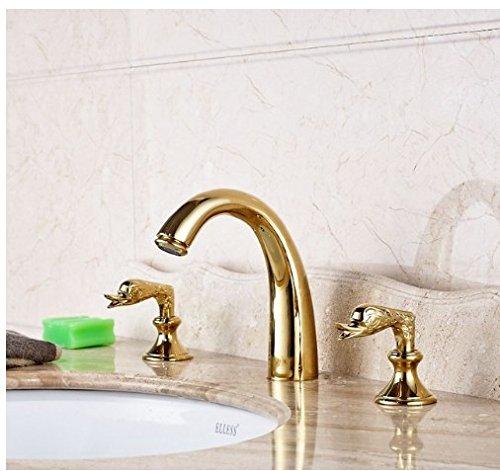 Gowe Swivel Spout Gold Polished Bathroom 3pcs Faucet Deck Mounted Double Handles