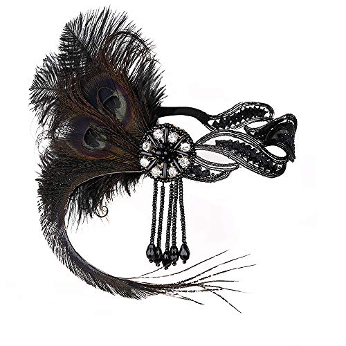 JISEN 1920s Flapper Vintage Peacock Feather Gatsby Beaded Tassel Headpiece Black from JISEN