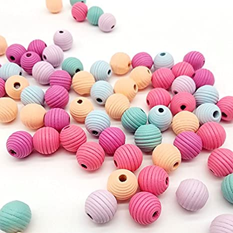 100 Assorted Bright Color Number Wood Beads Wooden Pendants Wood-cut