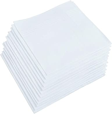12 Pack UMO LORENZO Pocket Square 100/% Soft Premium Cotton White Handkerchief for men