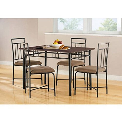 MSS 5-Piece Wood and Metal Dining Set, Multiple Colors, This elegant piece has a sturdy steel table frame and a wooden top with four metal chairs that have upholstered seats. modern style.