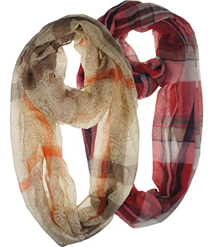 Vivian & Vincent 2 Pack of Soft Light Weight Elegant Sheer Infinity Scarf (Gift Idea) (Plaid Red & Light (Plaid Sheer)