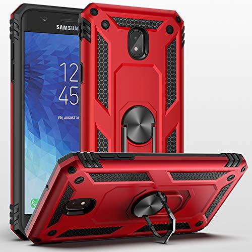 Galaxy J3 Star/J3 2018/J3 Orbit/J3 Achieve/J3 Prime 2/J3 Emerge 2018/Amp Prime 3/J3 Eclipse 2/Sol3/J3 Aura Case,SUSAA 360 Degree Metal Ring Holder Kickstand Phone Case Cover for Samsung J3 2018 RED