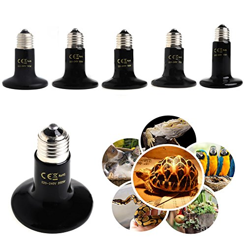 Qupida 50/75/100/150/200 Watt Basking Spot Lamp UVA UVB Pet Reptile Breeding Infrared Ceramic Heater Bulb/Lamp/Light for Reptile and Amphibian Use(200 (Sunglo Infrared Heater)