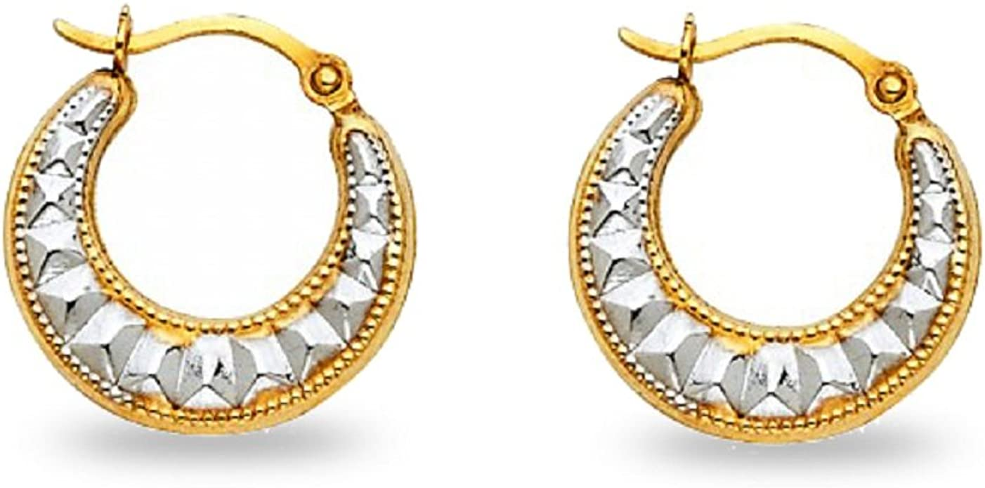 14k Two-Tone Gold Fancy Hollow Hoop Earrings, 15mm X 15mm