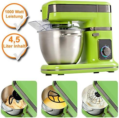 Robot de cocina 4,5liter, 1000 W de potencia, Profi – Amasadora con Planet Engranaje verde: Amazon.es: Hogar
