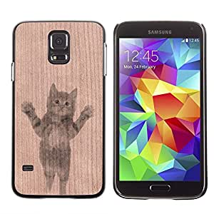 - Cute Baby Kitten Sweet Animal Pet - - Funda Delgada Cubierta Case Cover de Madera FOR Samsung Galaxy S5 I9600 G9009 G9008V BullDog Case