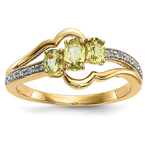 14k Gold With Peridot and Diamond Polished Ring by JewelryWeb