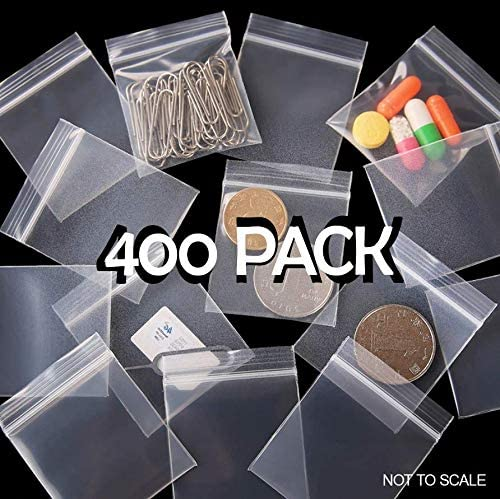 Sealed Plastic Bag for Herbs 3.8cm x 6.3cm Clear Storage Bag Distribution Small Resealable Plastic Bags 400 pcs Grip Seal Zip Lock Samples Reusable Clear Pouches
