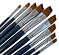 ARTIST PAINT BRUSHES - A - Professional Quality Black Tip, Golden Nylon, Long Handle, Angular Paint Brush Set - Ideal for Acrylic Painting and Oil Painting, and Equally Useful for Watercolor Painting and Gouache Color Painting. - The Natural Characteristi