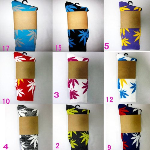Gemswedding One Pair New Plantlife Marijuana Weed Leaf Cotton High Socks Men/women