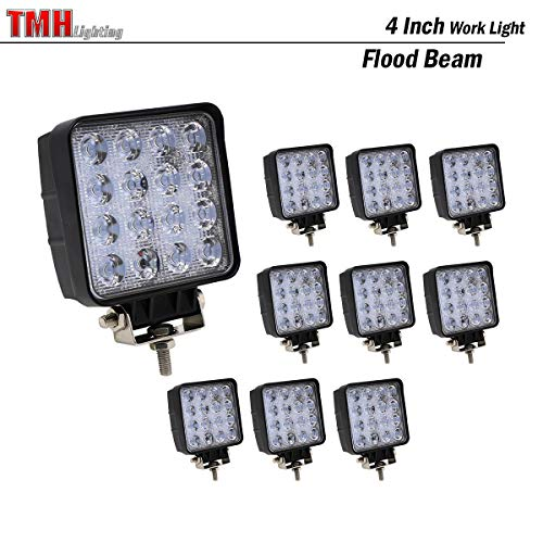 (Pack of 10) TMH 48w Square Shape 60 Degree LED Work Light Flood Lamp Driving Light, Jeep, Off-road, 4wd, 4x4, Utv, Sand Rail, Atv, Suv, Motorbike, Motorcycle, Bike, Dirt Bike, Bus, Trailer, Truck