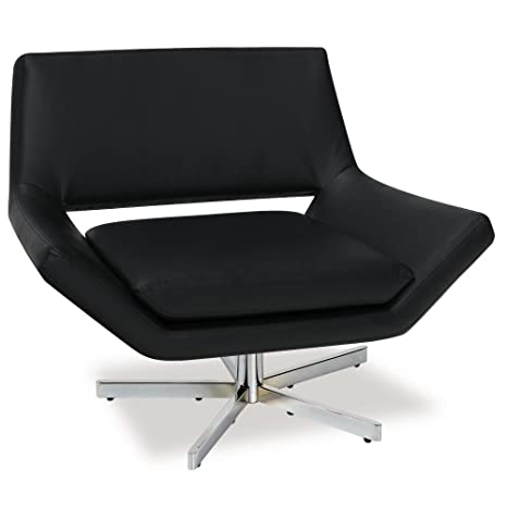 Excellent Ave Six Yield Modern 40 Inch Wide Lounge Chair In Faux Leather With Chrome Finish Base Black Alphanode Cool Chair Designs And Ideas Alphanodeonline