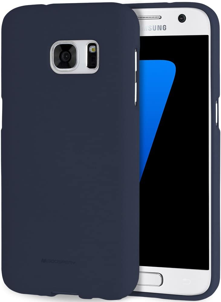 Goospery Soft Feeling Jelly for Samsung Galaxy S7 Case (2016) with Screen Protector Slim Thin Rubber Case (Midnight Blue) S7-SFJEL/SP-MBLU