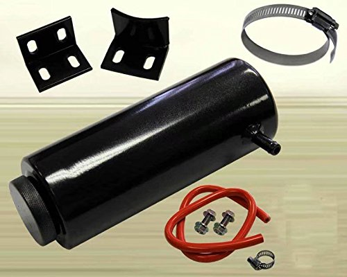 HonsCreat Universal 800ml 7.5'' x 3'' Cylinder Black Aluminum Engine Radiator Overflow Reservoir Tank by HonsCreat (Image #1)