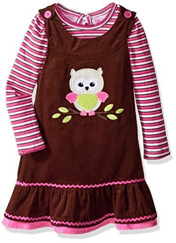 Nannette Lilliputian Girls' Toddler Cord Jumper with Baby Owl Applique, Brown, 2T