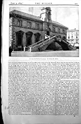 Old Original Antique Victorian Print External Stairs Corn Exchange Ordish Builder 1897 Architecture 499L172