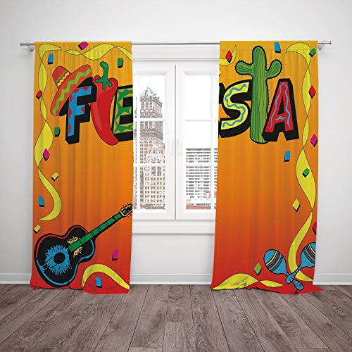 Thermal Insulated Blackout Window Curtain,Fiesta,Latino Pattern with Swirled Stripe Frame with Musical Instruments Confetti Design,Multicolor,Living Room Bedroom Kitchen Cafe Window Drapes 2 Panel Set - Plum 08900