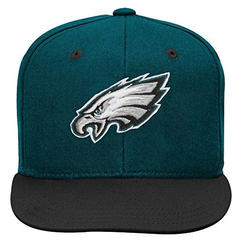 NFL by Outerstuff NFL Philadelphia Eagles Kids 2-Tone Flat Visor Snapback Hat Jade, Kids One Size by NFL by Outerstuff