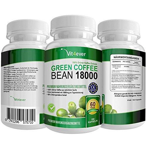 Green Coffee Bean 18000 - 18.000mg Tagesdosierung - 50% GCA - 60 Tage Anwendung - Neue extra starke Formel - 180 Kapseln - 100% Grüner Kaffee Bohnen - Zur Unterstützung während der Diät & Gewichtsreduktion- Premium Qualität - Bekannt aus dem TV