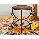 Onlineshoppee Beautiful Design Wooden And Wrought Iron Foldable Side Table