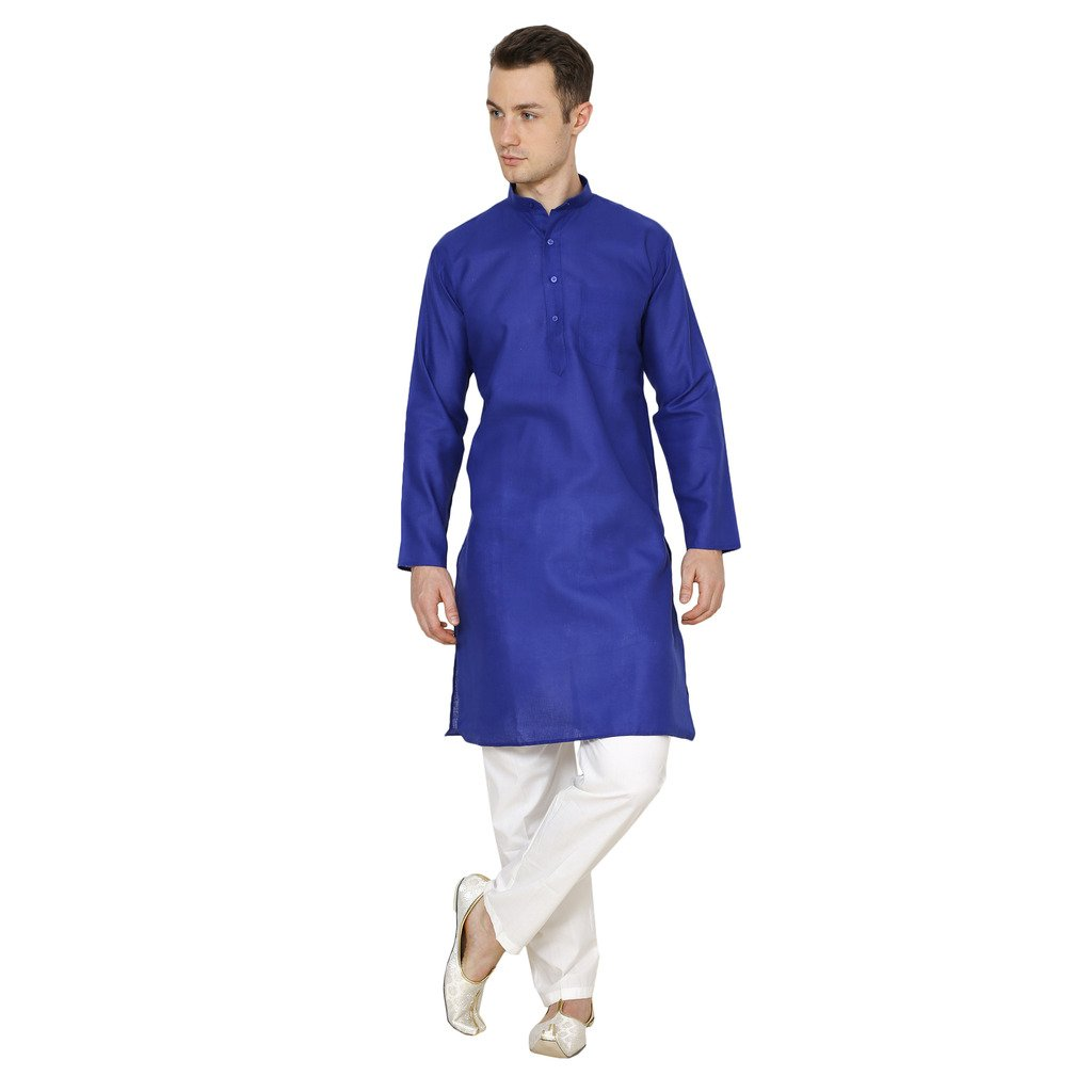 Royal Kurta Men's Cotton Linen Kurta Pyjama 716-DOBBY-ROYAL-BLUE