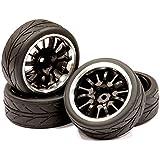 Integy Hobby RC Model Billet Machined 14 Spoke Realistic Alloy Wheel (Black & Silver)