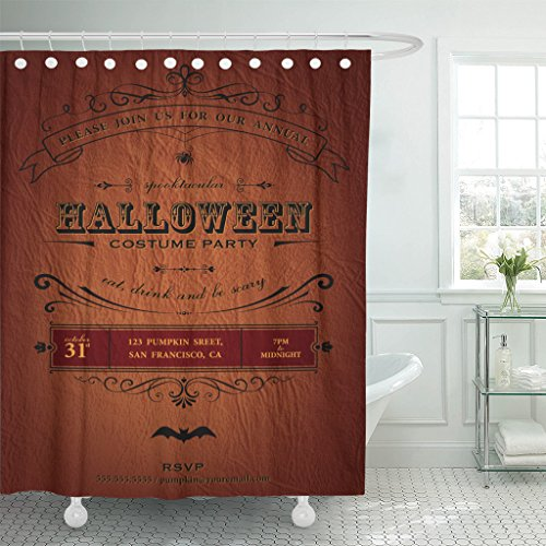 Emvency Shower Curtain Orange Vintage Halloween Party Label Classic October Announcement Bat Waterproof Polyester Fabric 60 x 72 inches Set with Hooks