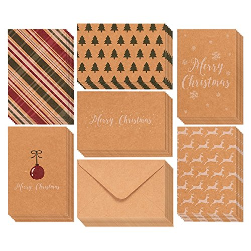 36-Pack Merry Christmas Greeting Cards Bulk Box Set - Winter Holiday Xmas Greeting Cards with Yuletide Elements, Envelopes Included, 4 x 6 Inches Funny Christmas Cards For Friends