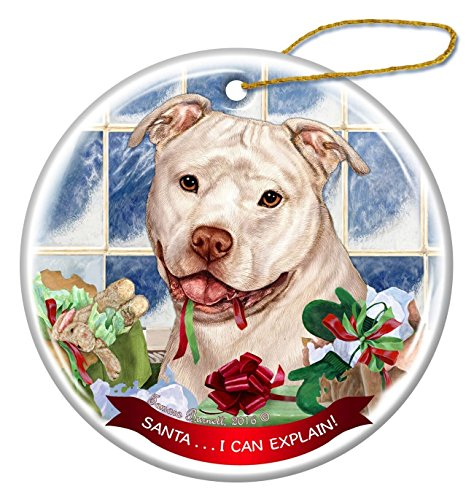 (White Pit Bull Uncropped Dog Porcelain Hanging Ornament Pet Gift 'Santa.. I Can Explain!' for Christmas Tree and Year Round)