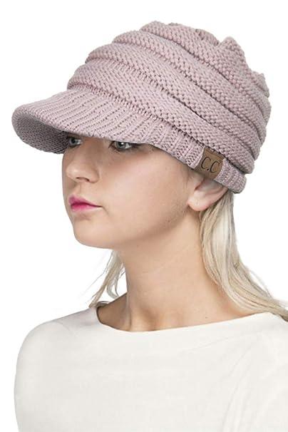308458af7b529 ScarvesMe Exclusive CC Brim Visor Knitted Beanie Hat (Beige) at ...