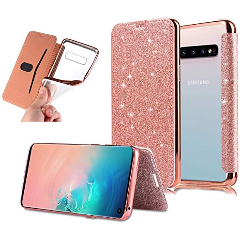 (Newseego Compatible Samsung Galaxy S10 Case Shiny Glitter Bling Slim PU Leather Flip Case Metal Bumper with Card Slot Transparent Clear Soft TPU Back Cover for Samsung Galaxy S10-Rose Gold)