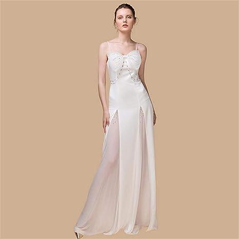Vestido de Noche, Sling Blanco Atractivo Elegante Falda Larga sin ...