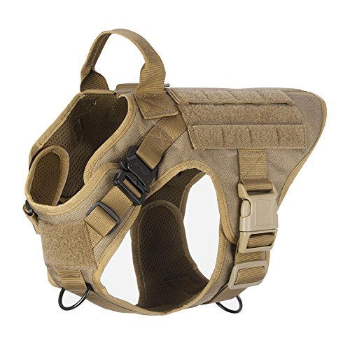 ICEFANG Dog Harness Medium Breed,Tactical Molle Dog Vest,No Pulling Front Clip, Hook and Loop Panel for Dog Patch,Metal Buckle (M 25
