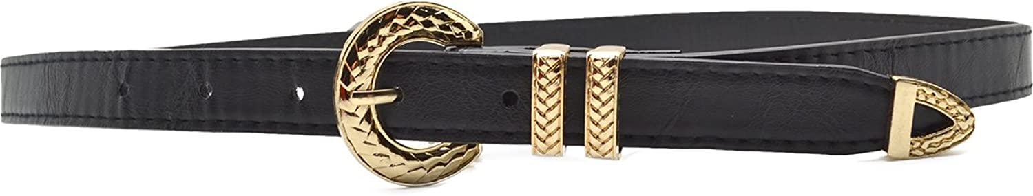 Style & Co. Women's Faux Leather Skinny Black Belt Small